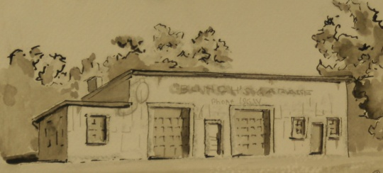 Bunch's Garage. China ink. 3 x 6