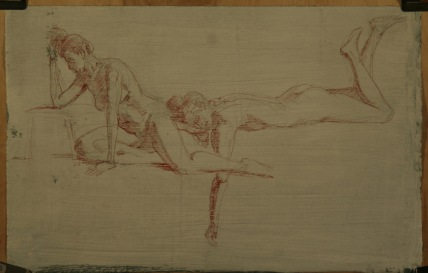 Figure studies in red sanguine chalk.