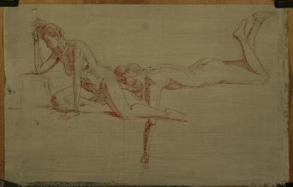 Figure studies in red sanguine chalk.
