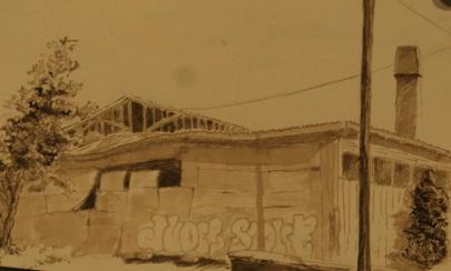 River District Warehouse, Asheville.  Walnut ink