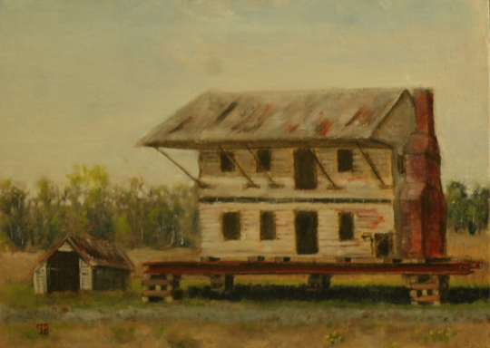 oil painting of plantation home