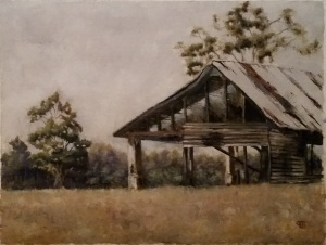 Burnt-out house in northern Chowan County.  Oil on paper. 12 x 16in.