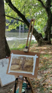 Note the ink drawing leaning against the tree.