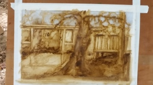 Note the ink drawing against the tree in the foreground.