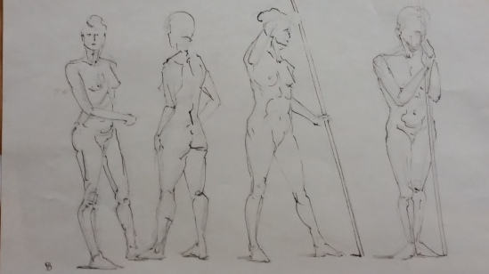 Four figures in walnut ink