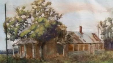 """Farmhouse outside Edenton. Oil on paper. 12 x 16"""""""